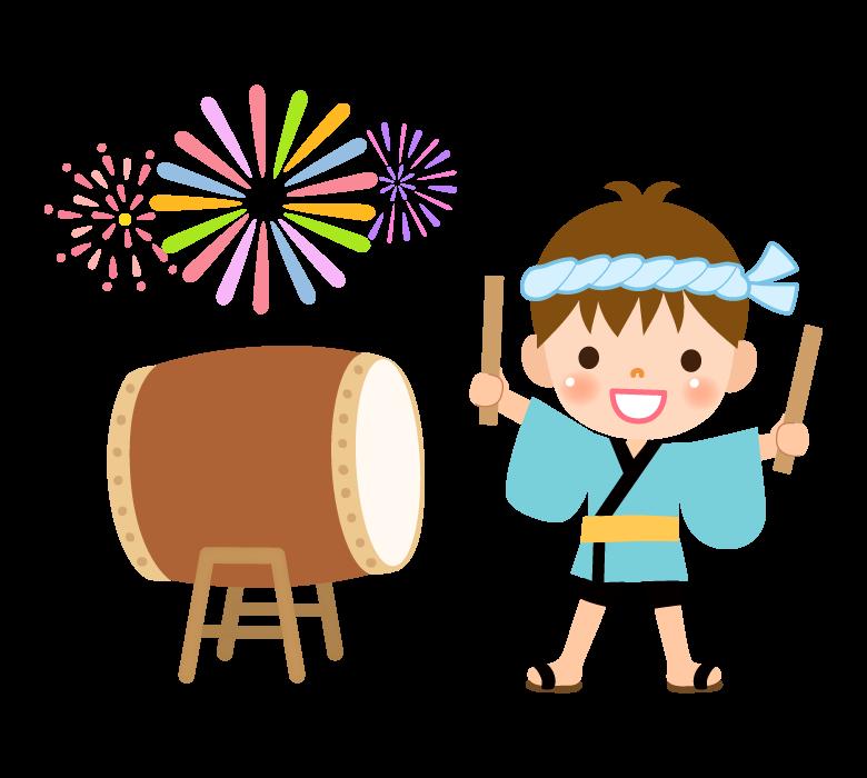 お祭りで太鼓を叩く男の子のイラスト