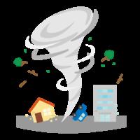 住宅街での竜巻のイラスト