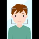 スマホの顔認証(男性)のイラスト