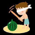 スイカ割りをしている男の子のイラスト
