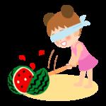 スイカ割りをしている女の子のイラスト