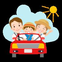 夏休みの家族旅行のイラスト