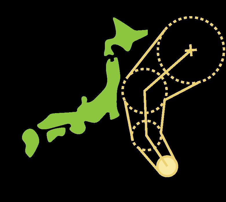 台風の進路予測のイラスト