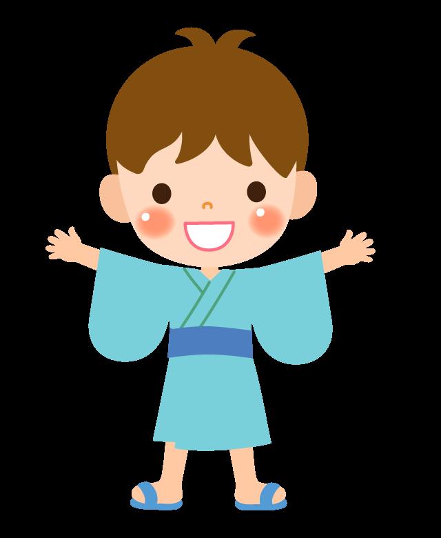浴衣を着た男の子のイラスト