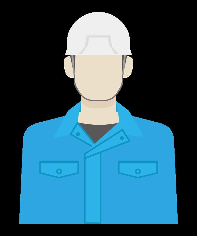 ヘルメットを被った作業員のイラスト