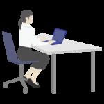 女性会社員/デスクワークのイラスト
