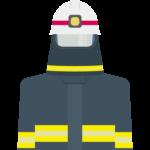 黒い防火服を着た消防隊員のイラスト