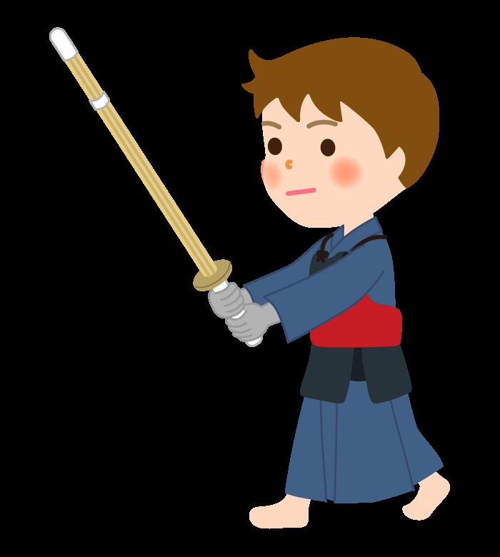 剣道/竹刀を持った男の子のイラスト