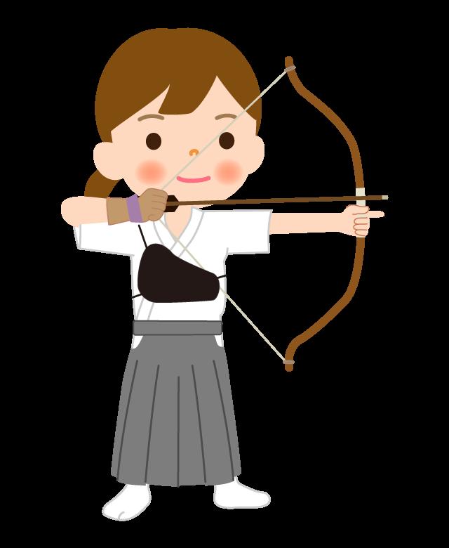 弓道をしている女の子のイラスト