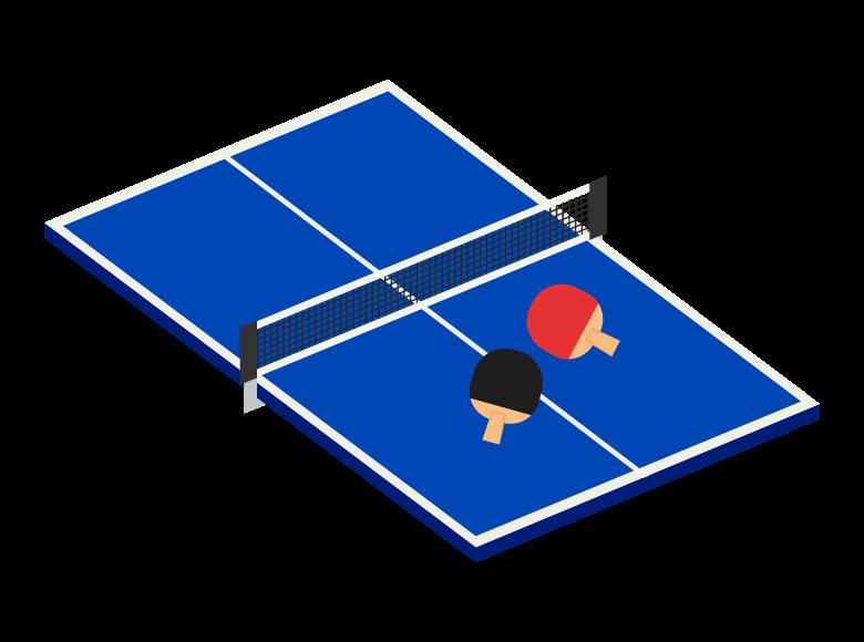 卓球のラケットとテーブルのイラスト