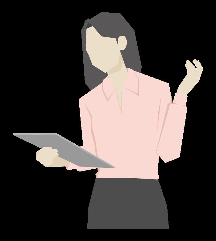 タブレットを持っている女性会社員のイラスト