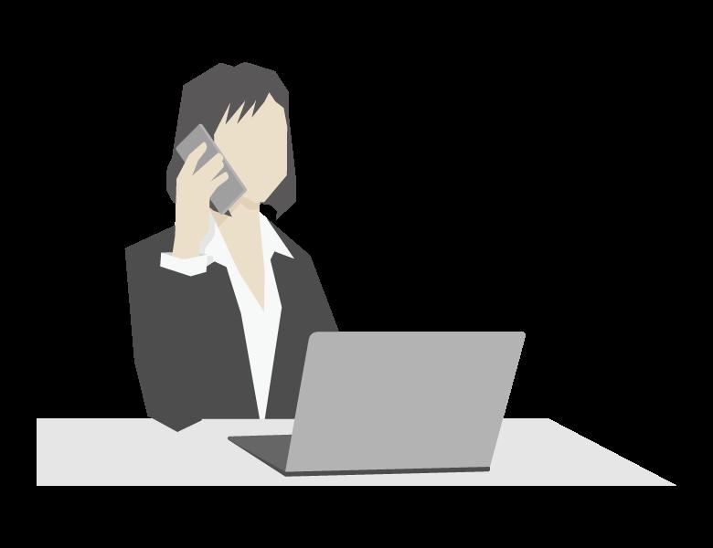 電話をしている女性会社員のイラスト