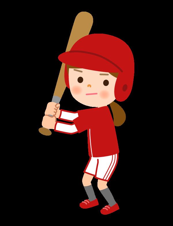 野球/ソフトボール/女の子のバッターのイラスト