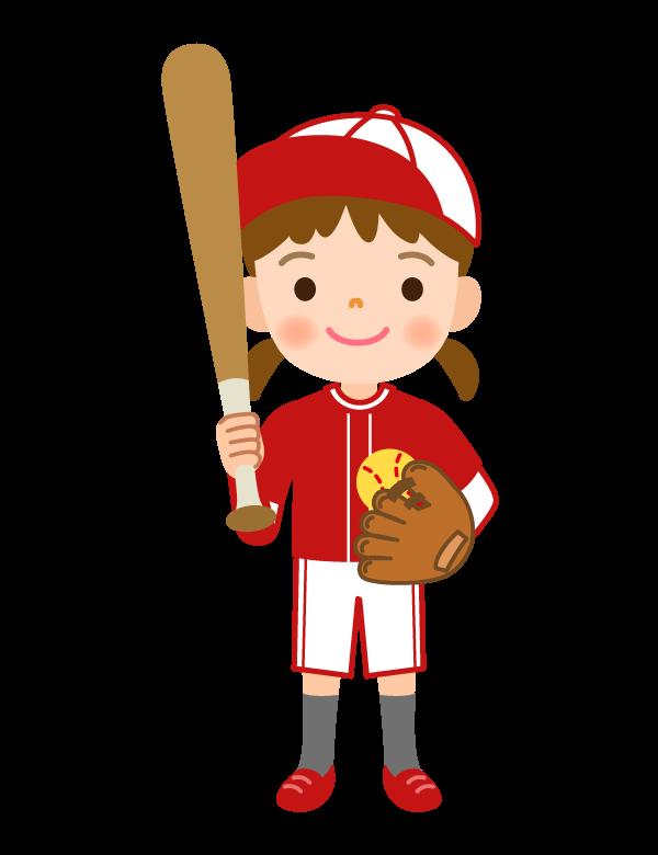 子どもの野球/ソフトボール/女の子のイラスト