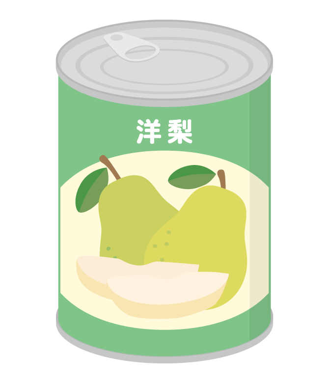 洋梨の缶詰のイラスト