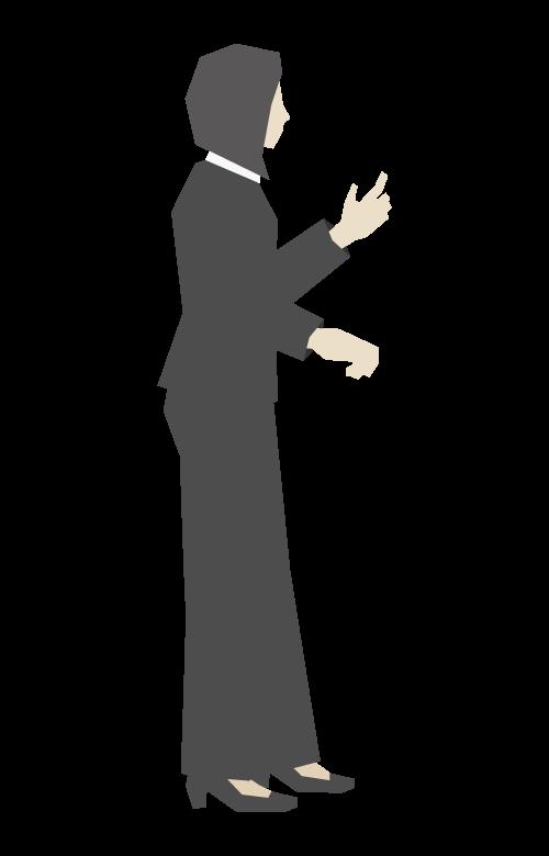 ジャスチャーをする女性会社員/立ち姿のイラスト