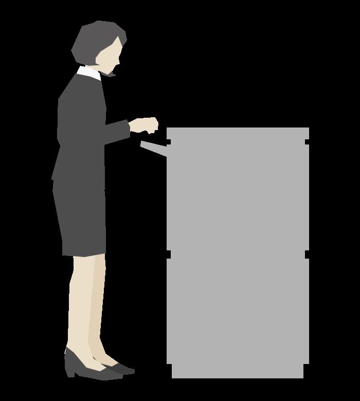 コピー機と女性会社員のイラスト