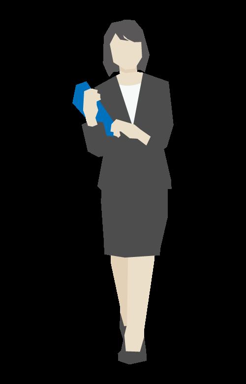 書類を持っている女性会社員のイラスト