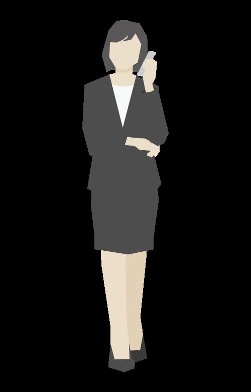 電話をしている女性会社員/立ち姿のイラスト