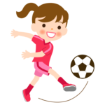 サッカー/女の子/パス/シュートのイラスト