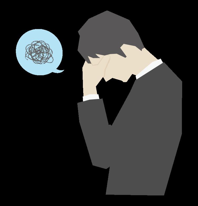 困る/悩み/ストレスの会社員のイラスト