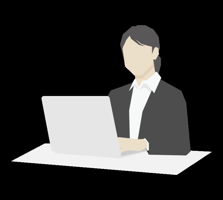 PCで仕事をする女性会社員のイラスト