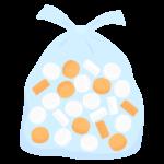 ごみ袋に入った空のペットボトルの蓋のイラスト