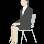 椅子に座っている女性会社員のイラスト