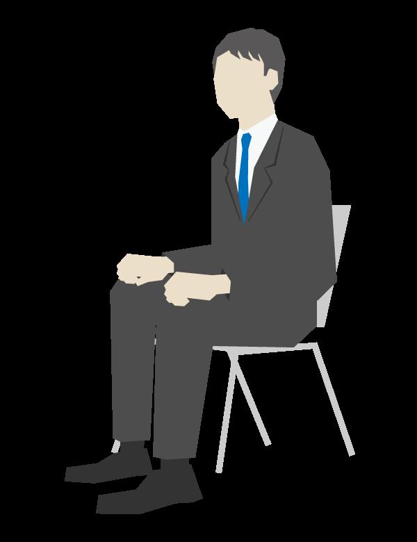 椅子に座っている会社員のイラスト
