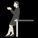 テーブル寄りかかる女性会社員のイラスト