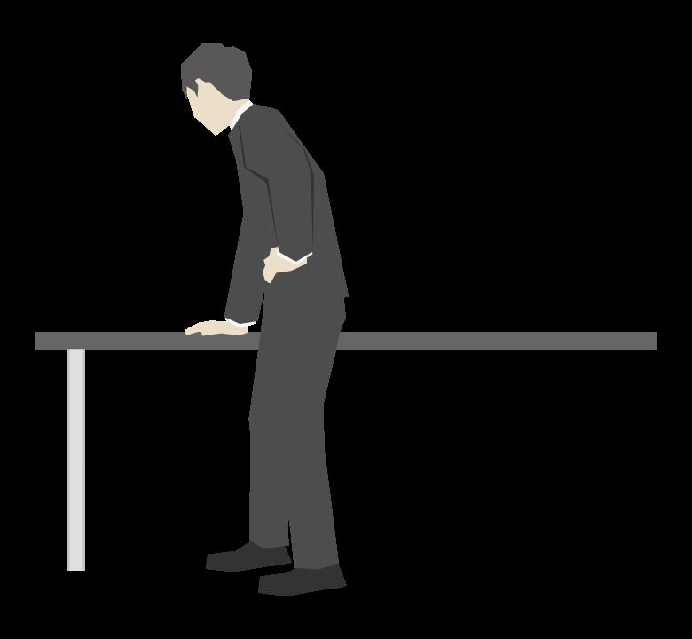 テーブルに片手をつく会社員のイラスト