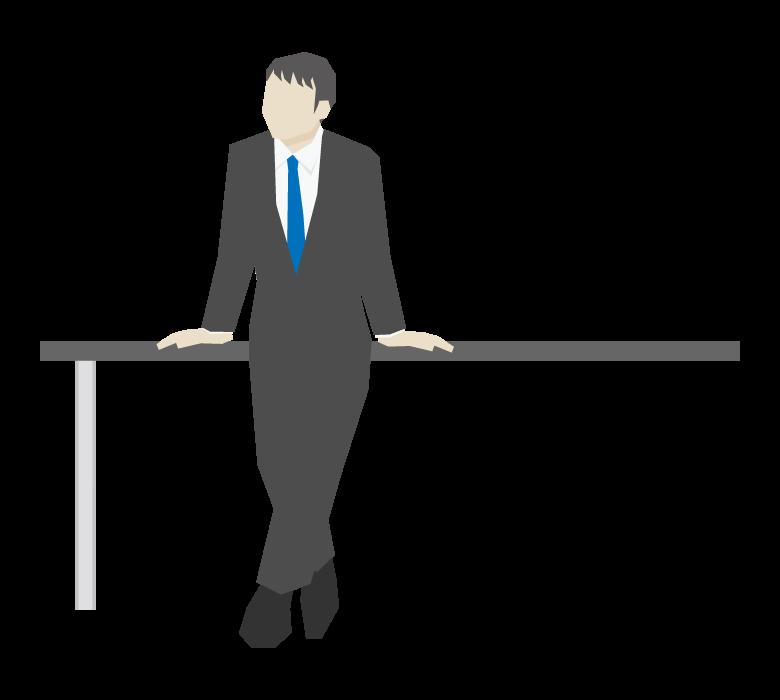 正面を向いてテーブルに両手をつく会社員のイラスト