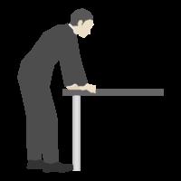 テーブルに両手をつく会社員のイラスト(横アングル)