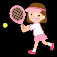 テニスをする女の子のイラスト
