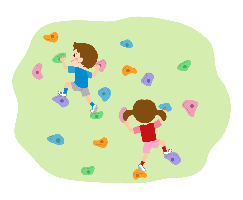 ボルダリングをする子どもたちのイラスト