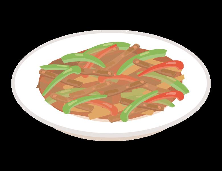 青椒肉絲/チンジャオロースのイラスト