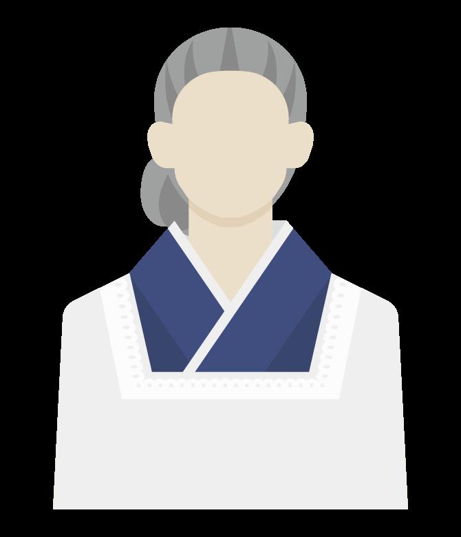 割烹着を着た年配の主婦のイラスト