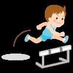 障害走/ハードル競技/男の子のイラスト