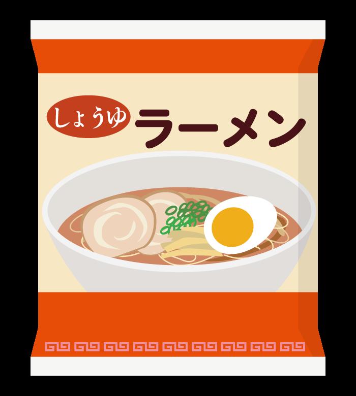 インスタント麺/袋麺/しょうゆ味のイラスト