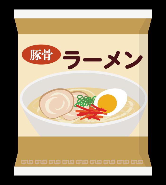 インスタント麺/袋麺/とんこつ味のイラスト