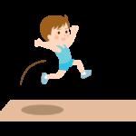走幅跳をする男の子のイラスト