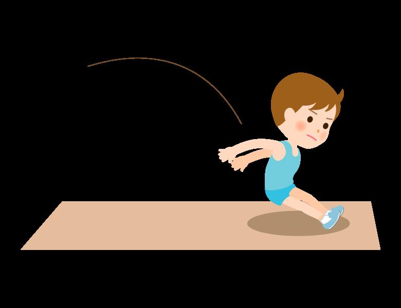 走幅跳で着地をする男の子のイラスト