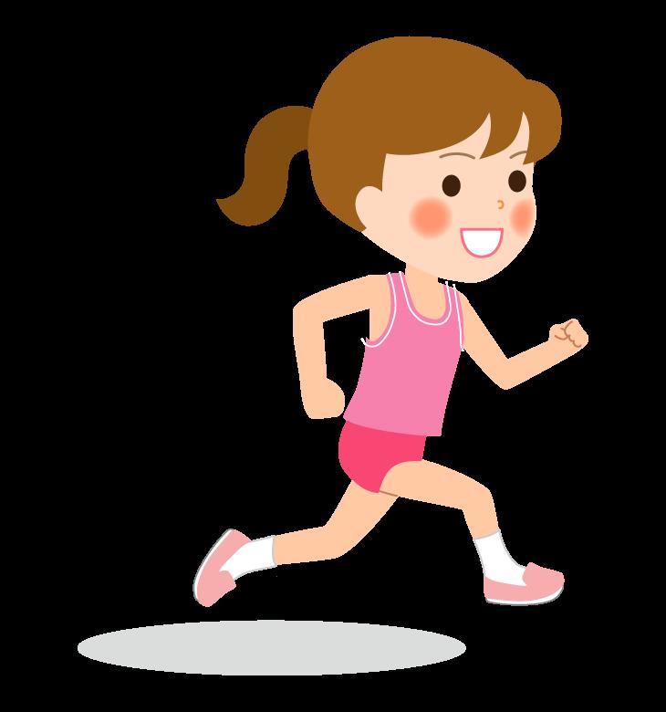 陸上競技/マラソン/女の子のイラスト