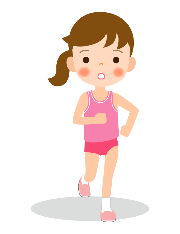 陸上競技/マラソン/女の子(正面アングル)のイラスト