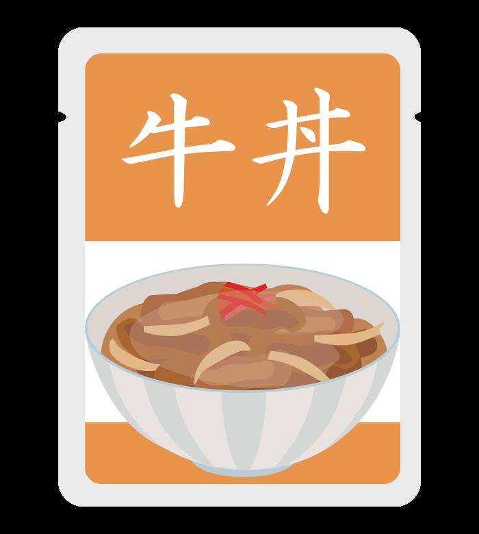 レトルトの牛丼のイラスト