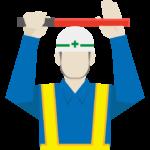 ストップ合図をする道路工事作業員/警備員のイラスト