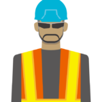 道路工事作業員のイラスト
