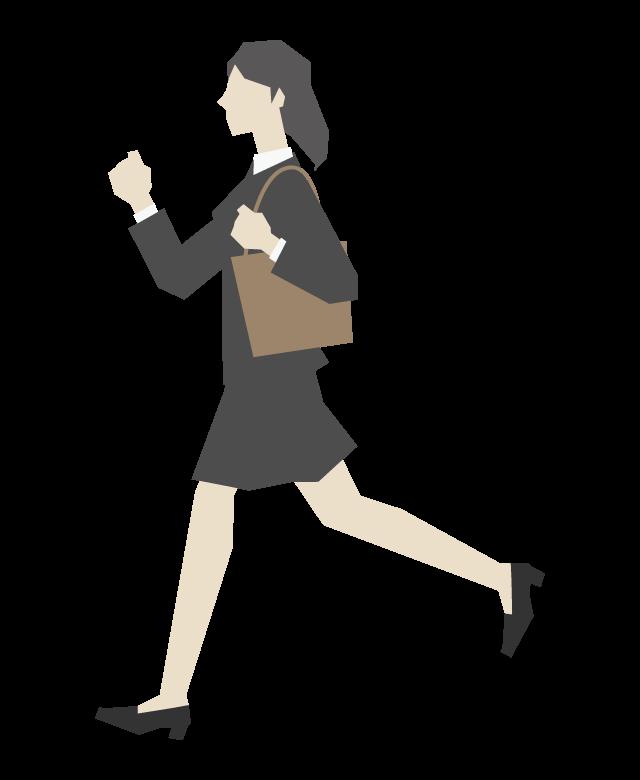 走っている女性会社員のイラスト