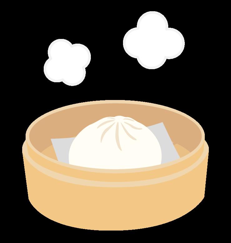 蒸したてホクホクの肉まん/中華まんのイラスト