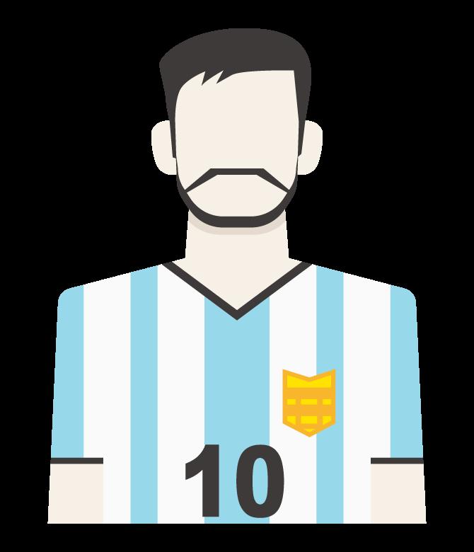 縦縞ユニフォームのサッカー選手のイラスト